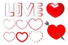 Vector hearts set. stock illustration