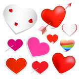 Vector Hearts Set. Isolated on White Background Royalty Free Stock Image