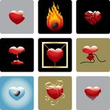 Vector Hearts - Set One. Set of nine colorful vector hearts representing different abstract ideas connected to the heart Royalty Free Stock Photography
