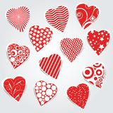 Vector hearts set - stickers Royalty Free Stock Photo