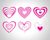 Vector hearts set for wedding and valentine design Stock Image