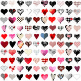 Vector 100 hearts set Royalty Free Stock Photos