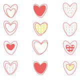 Vector hearts set on white background Stock Photos
