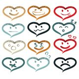 Vector hearts of smiley faces. Handmade watercolor Royalty Free Stock Photo