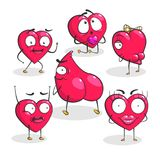 Vector hearts for Valentine`s Day. Collection of red vector hearts. Emotions of love. Hearts for Valentines Day. Characters isolated on white background Royalty Free Stock Photo