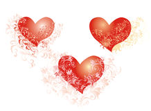 Vector Hearts whith flower ornaments Stock Images
