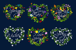 Vector hearts wreath of flowers for spring time. Spring quotes on hearts of flowers wreath. Vector set for springtime holiday greetings. Blooming flowers of lily Royalty Free Stock Photography