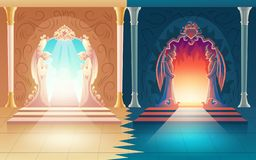 Vector heaven and hell gates. Afterlife entrance royalty free illustration