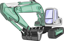 Vector heavy excavator Stock Photos