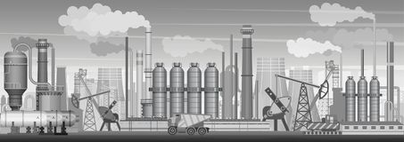 Vector heavy industrial landscape background. Industry, factory and manufacture. Environment pollution. Vector heavy industrial landscape background. Industry royalty free illustration