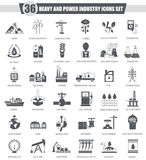 Vector heavy and power industry black icon set. Dark grey classic icon design for web. Stock Photos