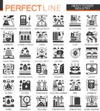 Vector Heavy and power industry black mini concept icons and infographic symbols set. Vector Heavy and power industry black mini concept icons and infographic Royalty Free Stock Photography