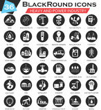 Vector Heavy and power industry circle white black icon set. Ultra modern icon design for web. Stock Photos