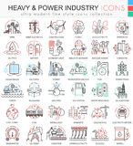Vector Heavy and Power industry color line outline icons for apps and web design. Stock Photography