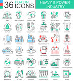 Vector Heavy and power industry flat line outline icons for apps and web design. Heavy power industry high technology Stock Photography