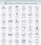 Vector heavy and power industry outline icon set. Elegant thin line style design. Stock Photos