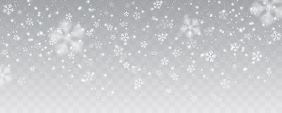 Vector heavy snowfall, snowflakes in different shapes and forms. Many white cold flake elements on transparent background. White snowflakes flying in the air Stock Photos