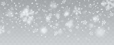 Vector heavy snowfall, snowflakes in different shapes and forms. Many white cold flake elements on transparent background. White snowflakes flying in the air Stock Photography