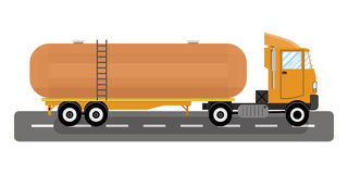 Vector of heavy truck and chemical tank. Heavy oil fuel chemical tank truck. vector illustration in flat style on white background Royalty Free Stock Image