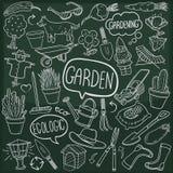 Vector hecho a mano del diseño del garabato del jardín del bosquejo tradicional al aire libre casero de los iconos stock de ilustración