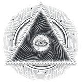 Vector heilige Geometrie der Tätowierungsillustrations-Zusammenfassung mit einem gesamt-sehenden Auge stock abbildung