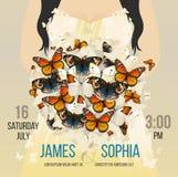 Vector heiratende inspirierend Karte mit Fliegenschmetterlingsblumenstrauß Romantischer Brunettefrauenbraut-Schattenbildhintergru Lizenzfreie Stockfotos