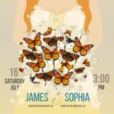 Vector heiratende inspirierend Karte mit Fliegenschmetterlingsblumenstrauß Romantischer Rothaarigefrauenbraut-Schattenbildhinterg Stockfoto