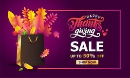 Vector helder boeket van de herfst gevallen bladeren in gouden giftdocument het winkelen zak in kader Dankzeggingsverkoop tot 50  royalty-vrije illustratie