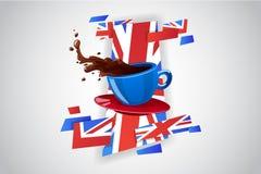 Vector heldere kleurenkop van hete drank (thee of koffie) Stock Fotografie