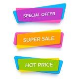 Vector heldere plastic banners voor online opslag Royalty-vrije Stock Afbeeldingen