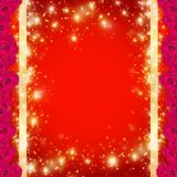Vector Heldere rode groetkaart met gouden lintenlovertjes en rozen voor de Dag van Valentine Eps 10 stock illustratie