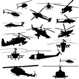 Vector helicopter silhouettes. 16 vector combat helicopter silhouettes Royalty Free Stock Photos