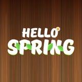 Vector hello de lentebanner met tekst en bloemen hello de lenteslogan of etiket op houten achtergrond wordt geïsoleerd die Royalty-vrije Stock Afbeeldingen