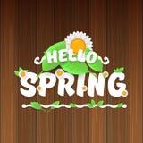 Vector hello de lentebanner met tekst en bloemen hello de lenteslogan of etiket op houten achtergrond wordt geïsoleerd die Stock Fotografie