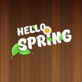 Vector hello de lentebanner met tekst en bloemen hello de lenteslogan of etiket op houten achtergrond wordt geïsoleerd die Royalty-vrije Stock Foto's