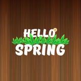 Vector hello de lentebanner met tekst en bloemen hello de lenteslogan of etiket op houten achtergrond wordt geïsoleerd die Stock Afbeelding