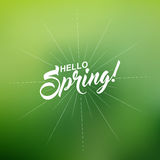 Vector Hello Spring inscription with rays of blast on green on blurred background. Royalty Free Stock Photography
