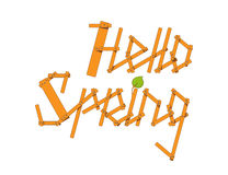 Vector Hello Spring lettering from small planks and young branches Royalty Free Stock Image