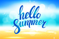 Vector hello summer background. Hello summer vector illustration on blurred background with sun rays. Hello summer lettering. Hell Stock Photos