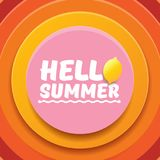 Vector Hello Summer Beach Party Flyer Design template with fresh lemon isolated on abstract circle orange background. Hello summer concept label or poster with Stock Photo
