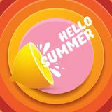 Vector Hello Summer Beach Party Flyer Design template with fresh lemon isolated on abstract circle orange background. Hello summer concept label or poster with Royalty Free Stock Photos