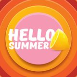 Vector Hello Summer Beach Party Flyer Design template with fresh lemon isolated on abstract circle orange background. Hello summer concept label or poster with Royalty Free Stock Image