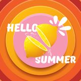 Vector Hello Summer Beach Party Flyer Design template with fresh lemon isolated on abstract circle orange background. Hello summer concept label or poster with Stock Photography