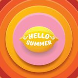 Vector Hello Summer Beach Party Flyer Design template with fresh lemon isolated on abstract circle orange background. Hello summer concept label or poster with Stock Photos