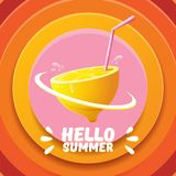 Vector Hello Summer Beach Party Flyer Design template with fresh lemon isolated on abstract circle orange background. Hello summer concept label or poster with Royalty Free Stock Photography