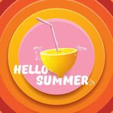 Vector Hello Summer Beach Party Flyer Design template with fresh lemon isolated on abstract circle orange background. Hello summer concept label or poster with Royalty Free Stock Photo