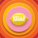Vector Hello Summer Beach Party Flyer Design template with fresh lemon isolated on abstract circle orange background. Hello summer concept label or poster with Stock Images