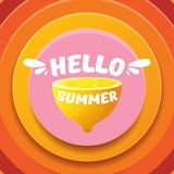 Vector Hello Summer Beach Party Flyer Design template with fresh lemon isolated on abstract circle orange background. Hello summer concept label or poster with Royalty Free Stock Images