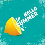 Vector Hello Summer Beach Party Flyer Design template with fresh lemon isolated on azure or torquoise background. Hello. Vector Hello Summer Beach Party Flyer Royalty Free Stock Photos