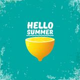 Vector Hello Summer Beach Party Flyer Design template with fresh lemon isolated on azure or torquoise background. Hello. Vector Hello Summer Beach Party Flyer Royalty Free Stock Image